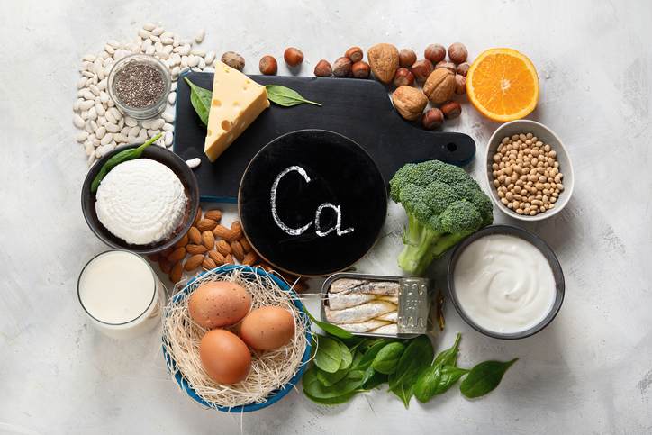 calcium-rich foods, non-dairy sources of calcium on a table