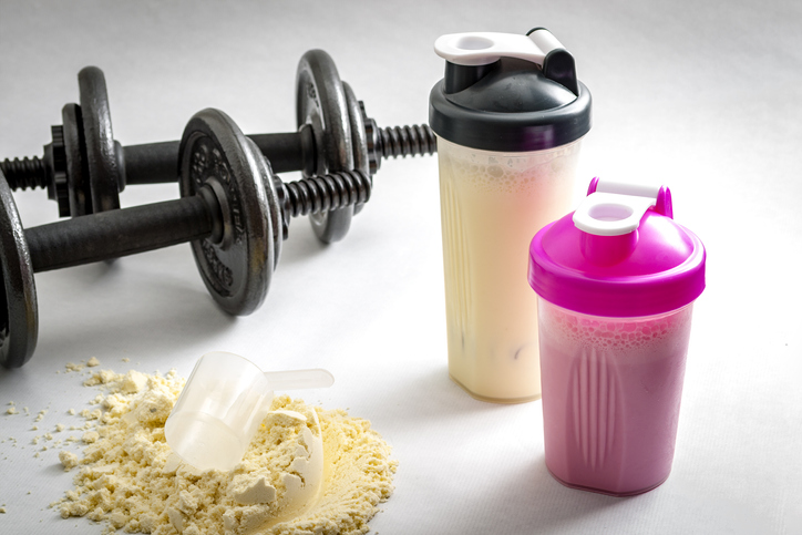 Workout Supplements: What Supplements Should I Take, dumbbells and protein shake bottle