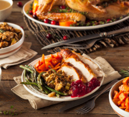 How To Eat Healthy On Thanksgiving: Thanksgiving dinner table